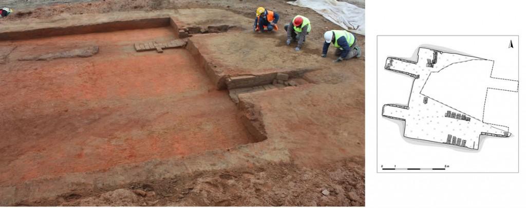 Metanodotto Cremona - plan fornace e scavo in corso fornace post-med